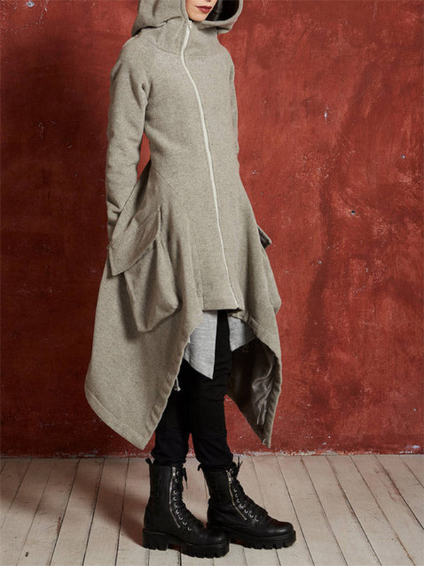 Asymmetric Hooded Long Sleeves Outwears Tops