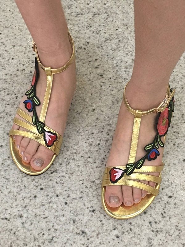 Bohemia Embroidered Rose Sandals