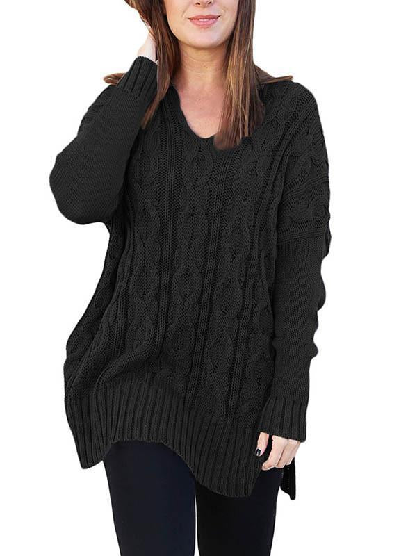 Asymmetric V-neck Sweater Tops