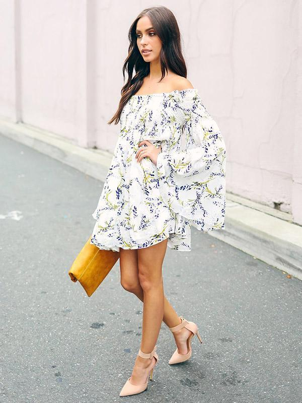 Floral Off-the-shoulder Ruffled Mini Dress