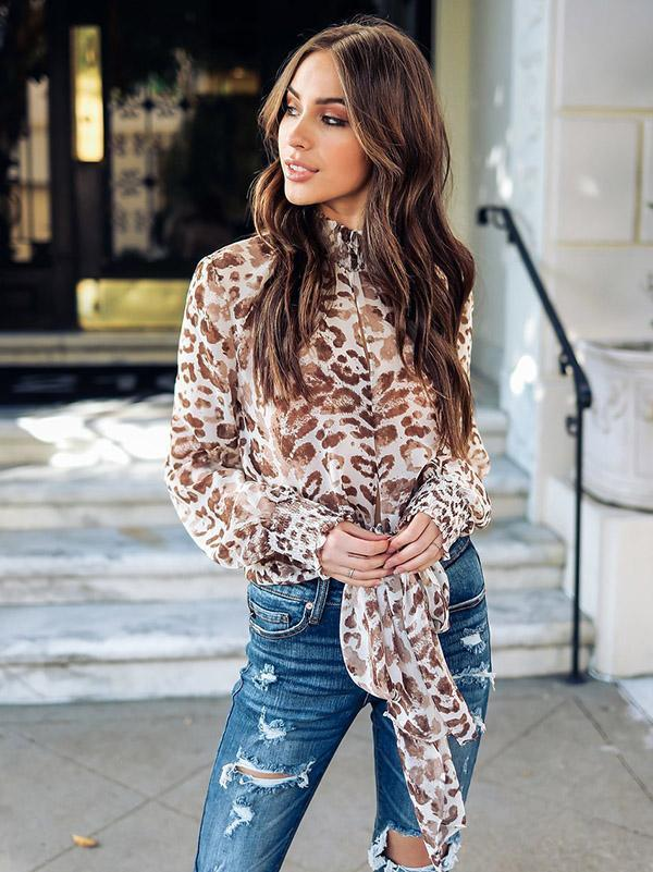 Leopard Print Bow-embellished Blouses&Shirts Top