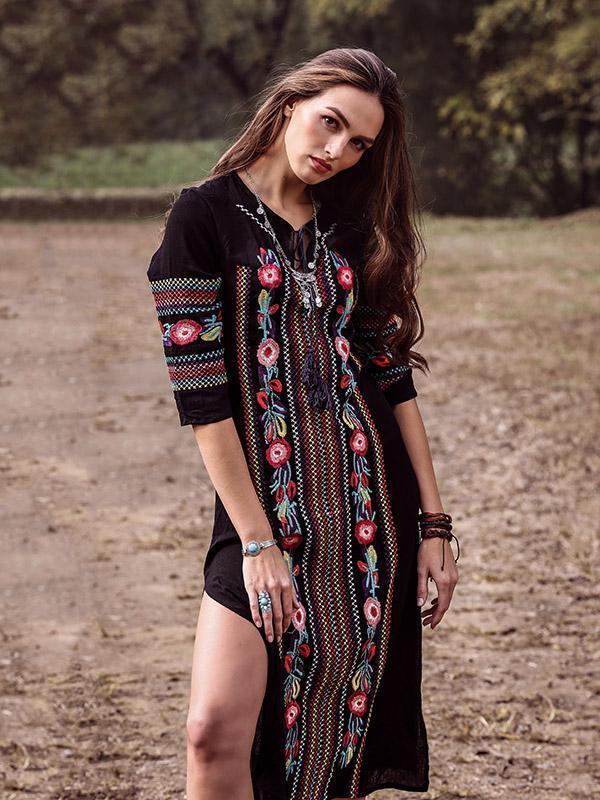 Bohemia Embroidery V-Neck Long Sleeve Side Split Maxi Beach Dress