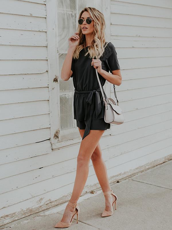 Solid Color Bow-embellished Romper