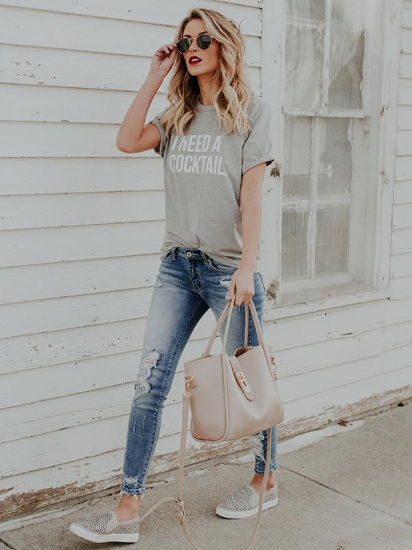 Gray Round-neck Short Sleeves T-shirts Tops