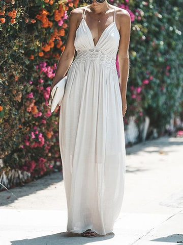 V-neck Flared Backless Maxi Dress
