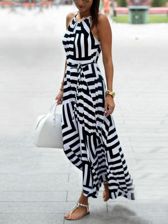 Asymmetric Striped Halterneck Maxi Dress
