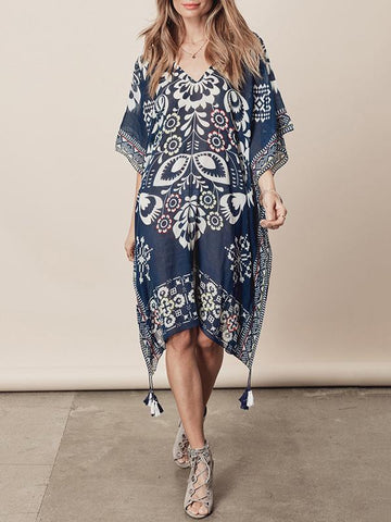 Plus Size Loose Printed Beach Cover-ups