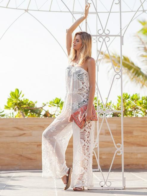 Pretty Lace Wide Leg Long Jumpsuits