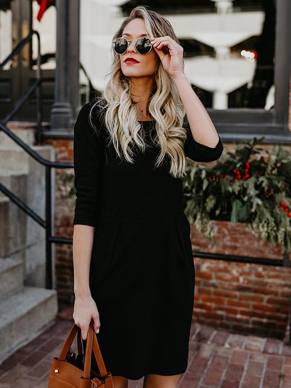 Round-neck Half Sleeves A-line Midi Dress
