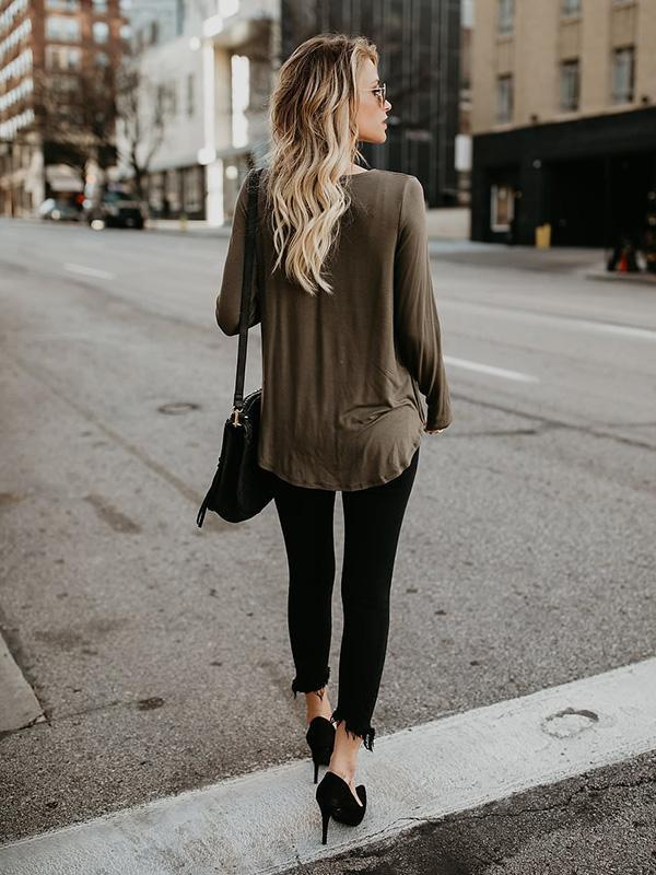 Long Sleeves V-neck Blouses&Shirts Top
