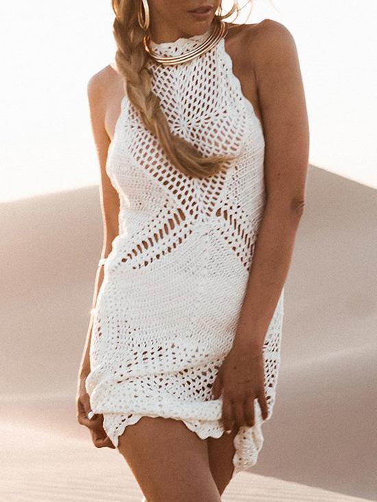 Hollow Crochetgo Backless Cover-up Dress