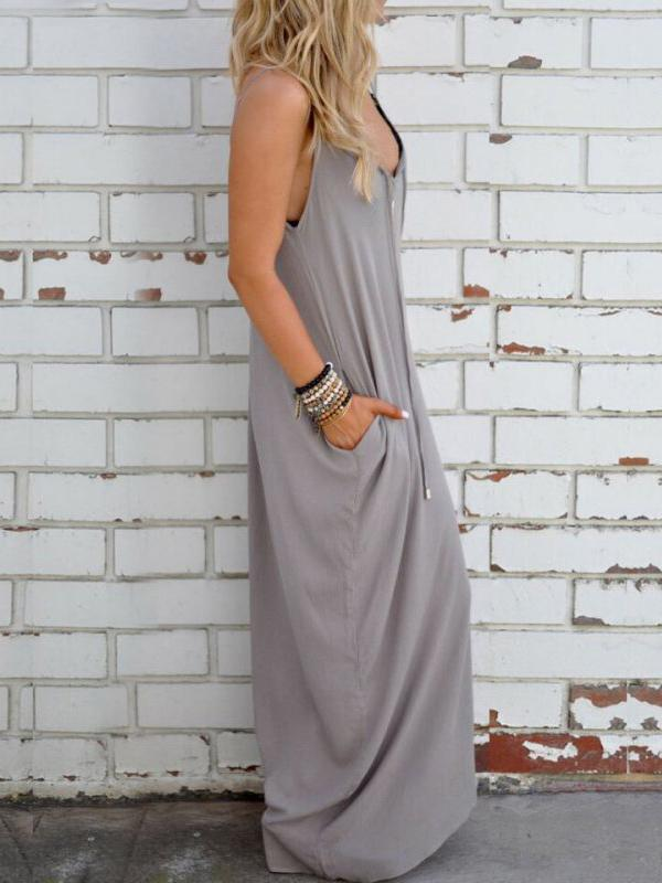 Simple Loose Condole Belted Maxi Dress