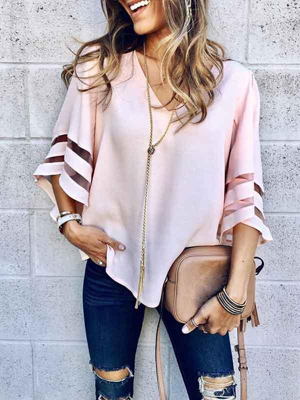 V-neck Flared Sleeves Loose Blouses&shirts Tops