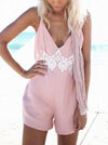 Pretty V-Neck Backless Bohemia Romper