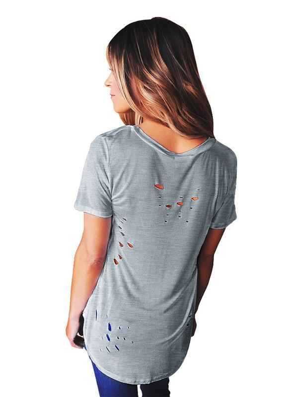 Sexy Short Sleeve V Neck with Small Holes T-Shirt Tops