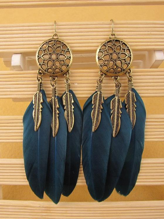 Retro Bohemia Feather Tassels Hollow Earrings