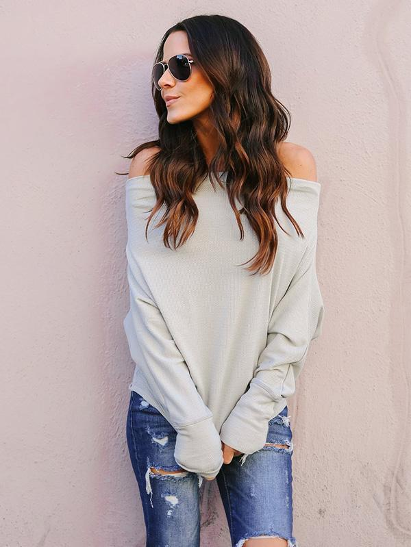 Split-joint Off-the-shoulder Blouses&Shirt Top