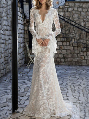 Lace Flared Sleeves V-back Evening Dress