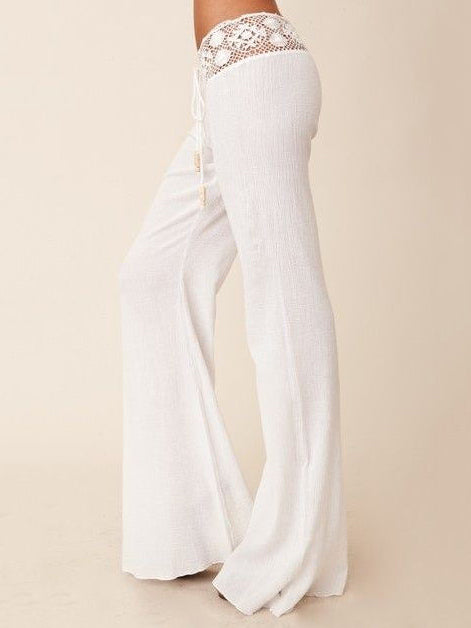 Lace White Bodycon Casual Pants