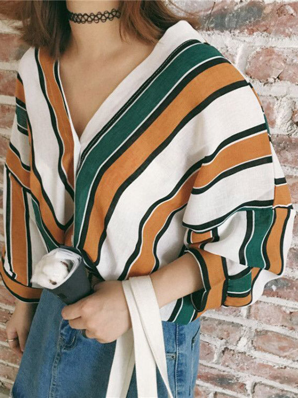 Cropped Striped Sexy Fashion Shirt Top