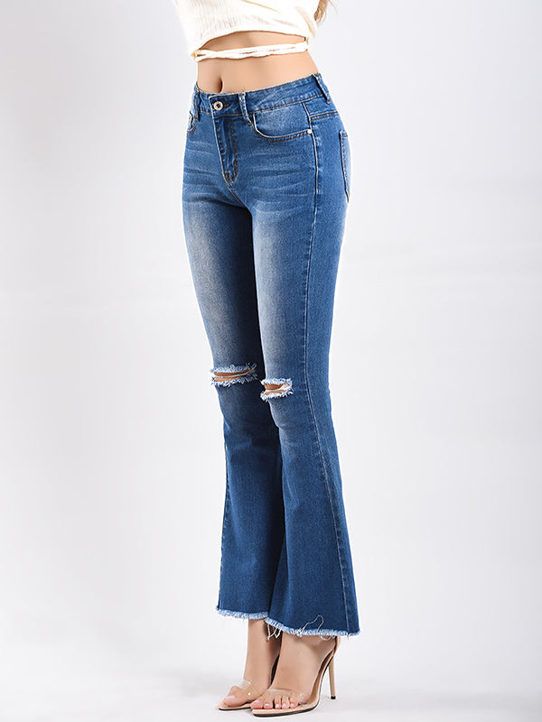Ripped Bell-bottom Jean Pants