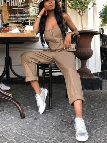 Solid Asymmetric Wide Leg Jumpsuits