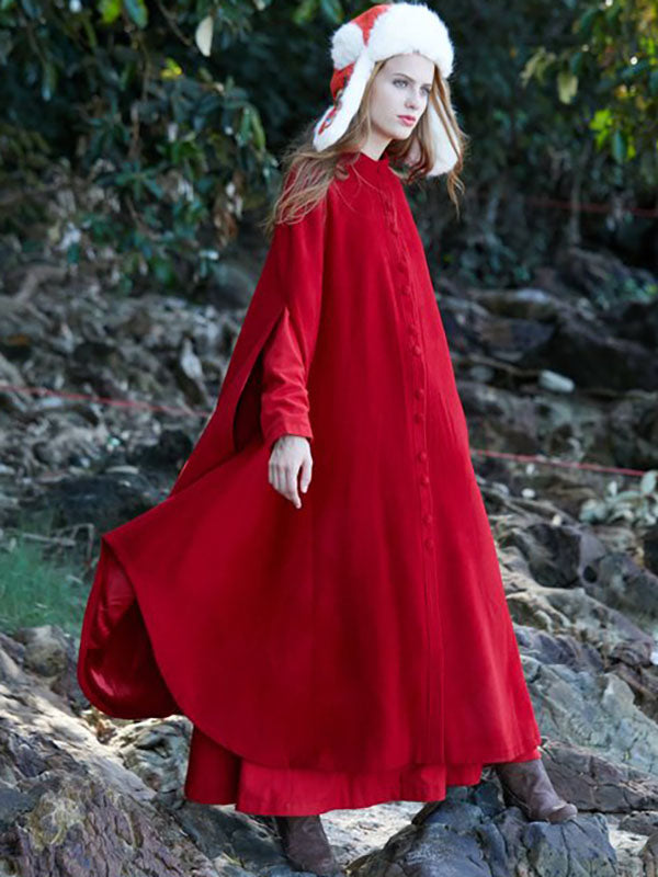 Presale Red Maxi Woolen Cape Outwear