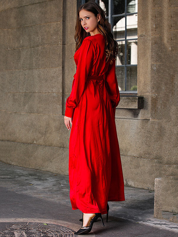 V-neck Long Sleeves Solid Color Belted Maxi Evening Dress