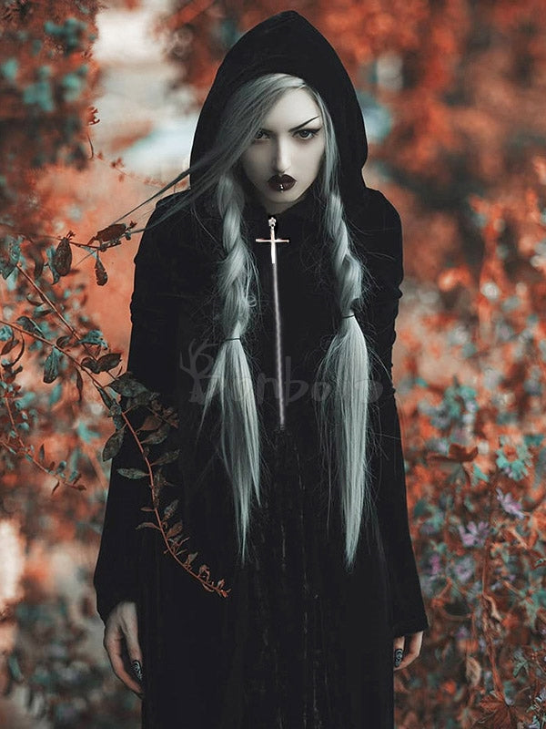 Gothic Style Flared Sleeves Hooded Cloak