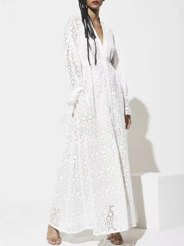 Lace Split-Joint V-Neck Hollow Flared Sleeves Maxi Dress