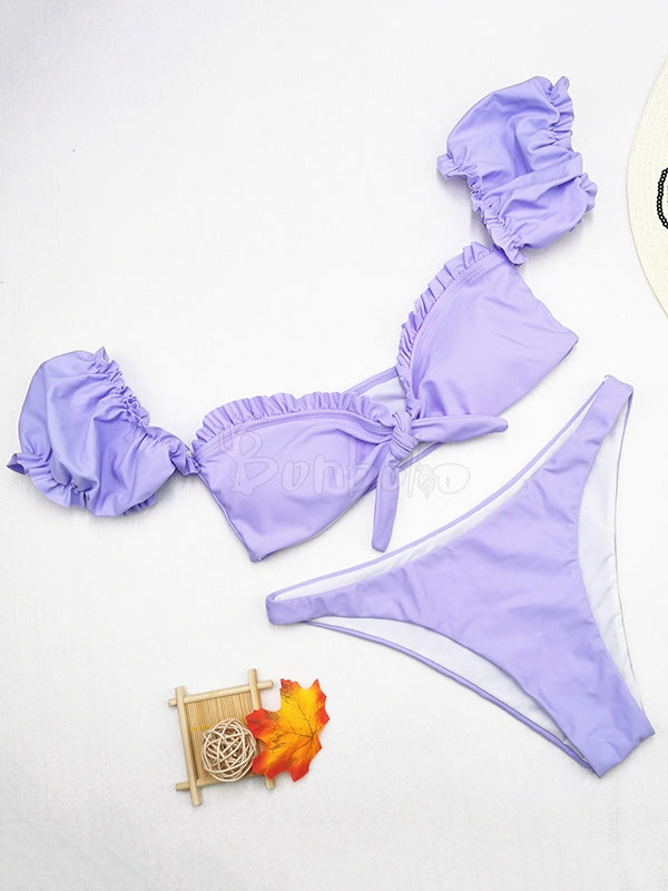 Solid Pleated Bow Bikini Swimwear