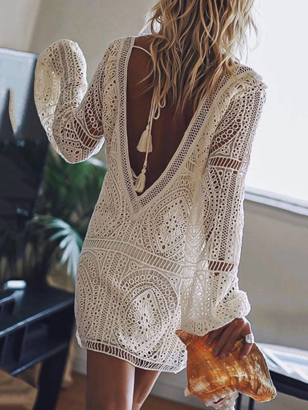 Lace Hollow V-back Cover-up