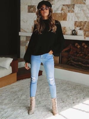 Comfortable Cotton Puff Sleeve Sweater