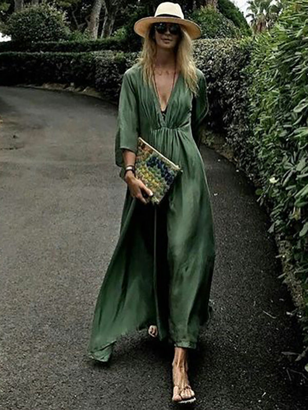 Loose Deep V-neck Maxi Dress