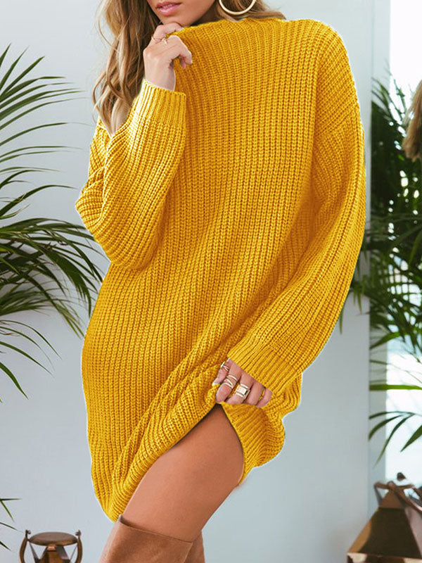 Casual Solid Knitting Sweater Tops