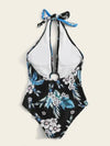Split-Joint Floral-Print One-Piece Swimwear