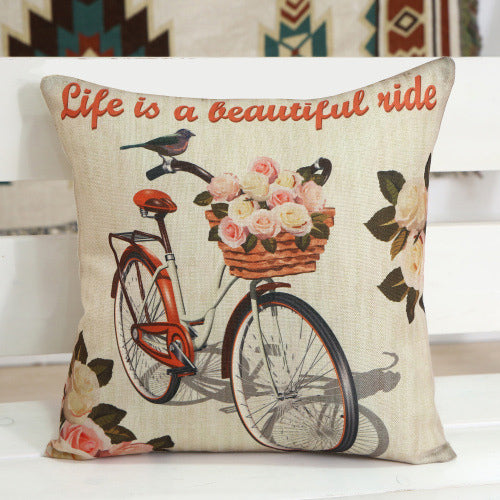 Bicycle Pattern Square Pillow Case