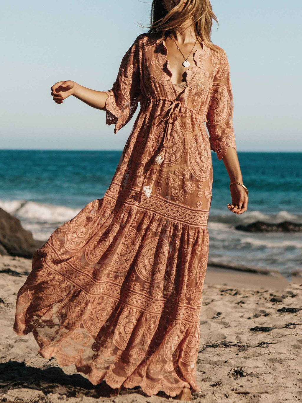 Split-joint Lace Belted Cover-up Maxi Dress