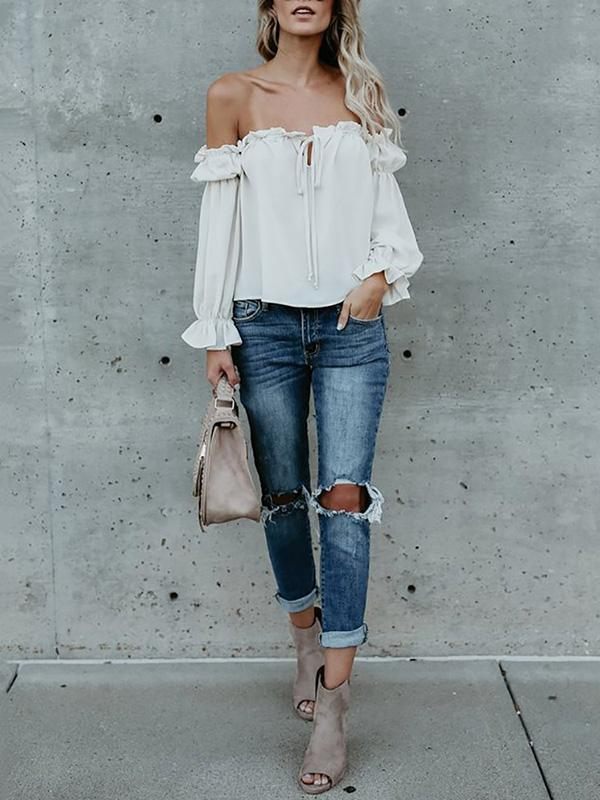 Off-the-shoulder Falbala Blouses&Shirt Top