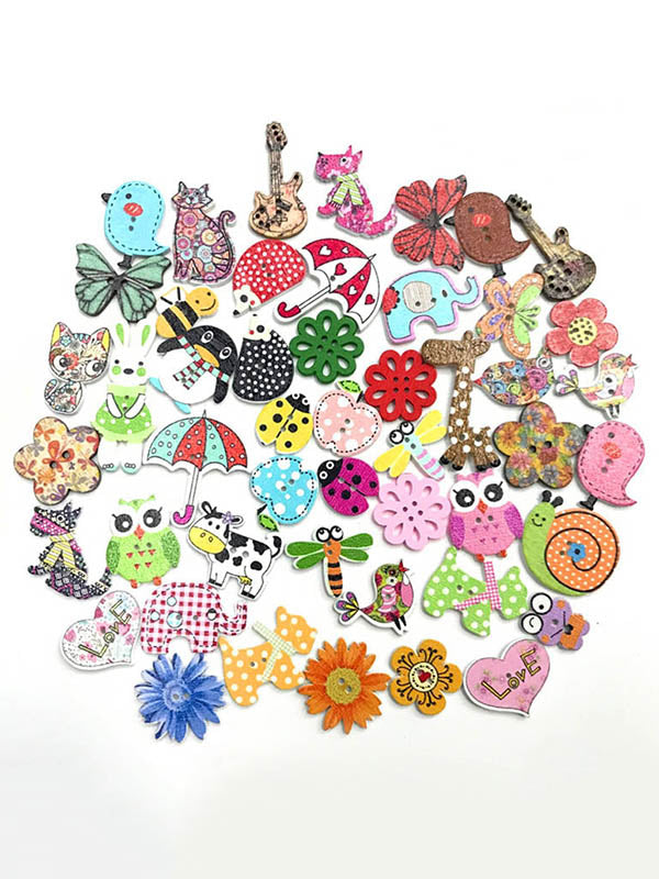 Colorful Cartoon Animal Pattern Buttons