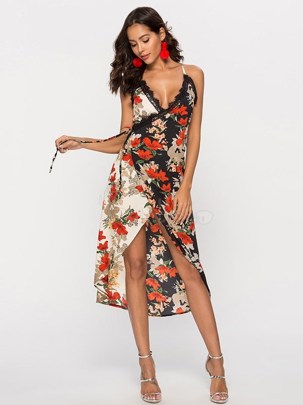 Floral Printed Split-Joint Condole Belt Dress