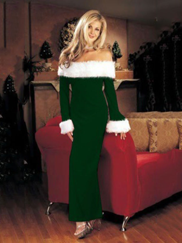 Off-the-shoulder Long Sleeves Christmas Maxi Dress