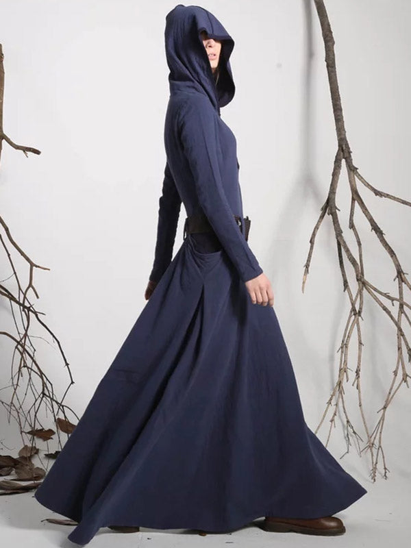 Hooded Long Sleeves Belted Long Dress