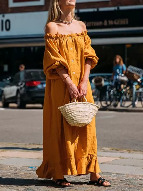Off-the-shoulder Puff-sleeves Maxi Dress