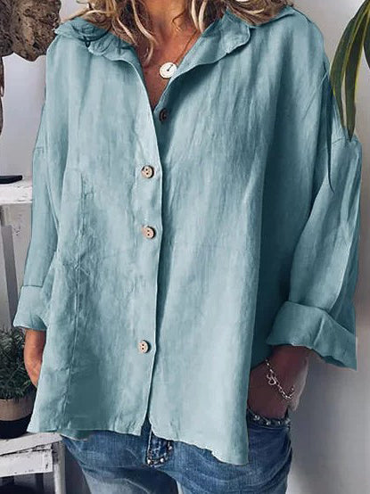 Solid Loose Batwing Sleeves Blouses&shirts Tops