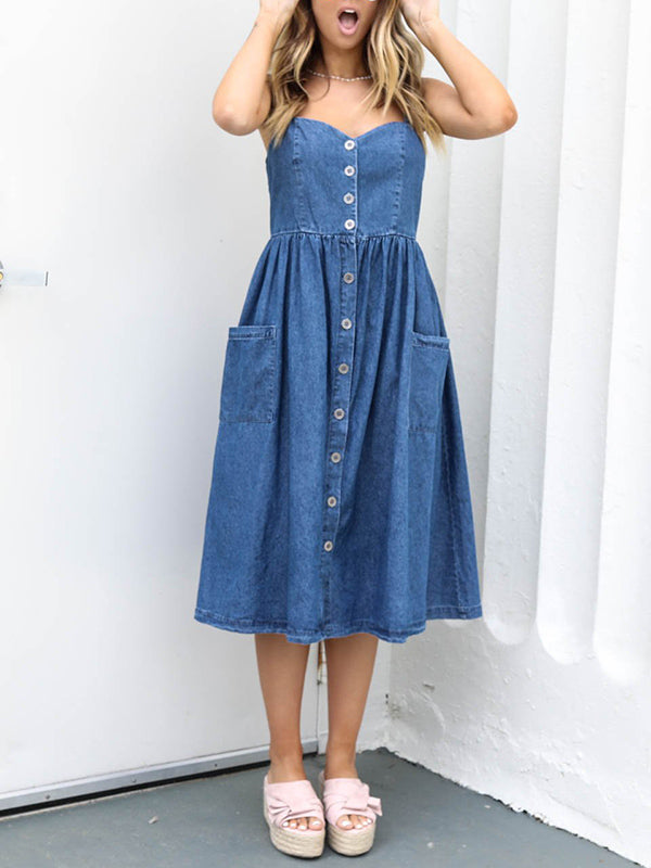 Sexy Spaghetti-neck Button Front Midi Dress