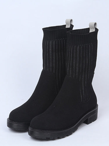 Split Knitting Mid Calf Boots