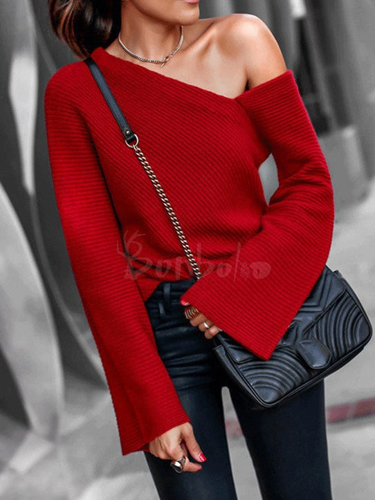 Sexy Off-The-Shoulder Knitting Sweater