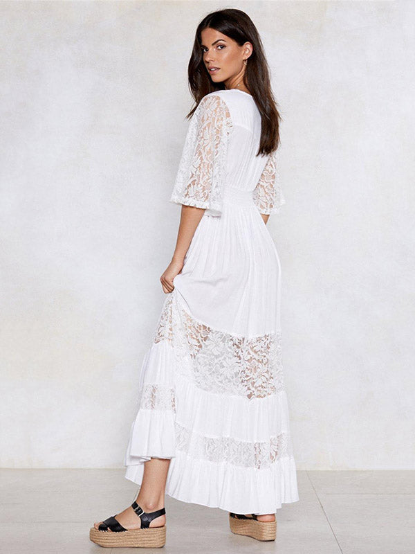 V-neck Lace Elastic Waist Maxi Dress