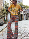 Floral Printed Bell-Bottoms Pants
